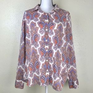J Crew The Perfect Shirt Paisley Button Down Large